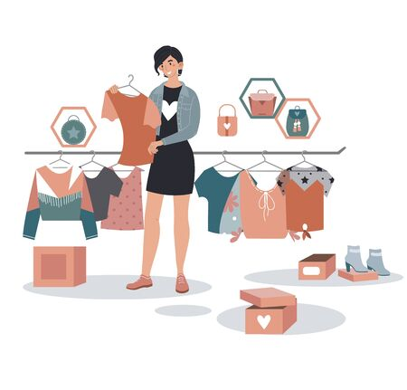 Big clearance sale, boutique selling designer fashion wear, woman hold shirt isolated on white, cartoon vector illustration. 向量圖像