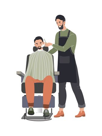 Male hairdresser professional fashionable beard, man character client waiting shaves isolated on white, flat vector illustration. 向量圖像