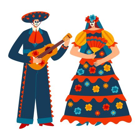 Character male female mexican costume motley carnaval people, traditional mexico suit isolated on white, flat vector illustration.