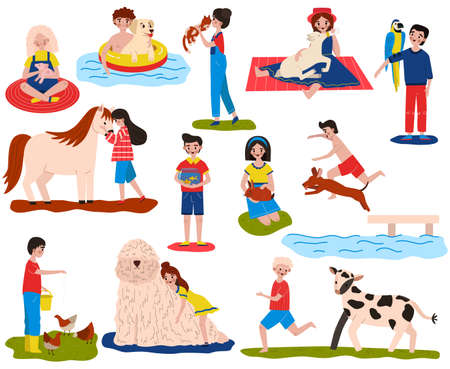 Children pet vector illustration set, cartoon flat happy owner child characters play with animals, hug, feed and care pets isolated on white Ilustração