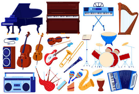 Acoustic music instrument, orchestra audio concert vector illustration set, cartoon flat musical instrumental collection isolated on white