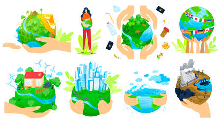 Planet in people hands vector illustration set, cartoon flat human arm hands hold green globe, save earth planet ecology isolated on white