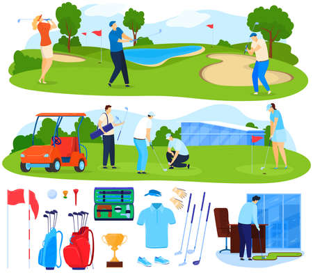 Playing golf vector illustration set, cartoon flat active player people play game on grass, sport activity, golf equipment isolated on white Vektorové ilustrace
