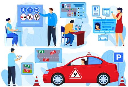 Instructor exam for car driver, people learners rules vector illustration set, cartoon flat woman man student learning isolated on white Ilustração