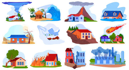 Nature disaster accident vector illustration set, cartoon flat natural storm tornado tsunami, volcano, fire destroy house isolated on white