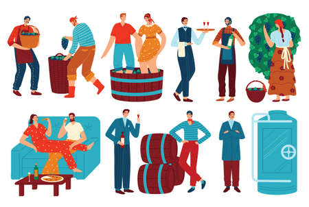 People and grapes wine vector illustration set, cartoon flat man woman character drinking wine, winemaker harvesting isolated on white