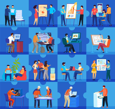 Office workers people work flat concept vector illustration, cartoon business office company workplaces and teamwork collection