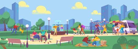 People in summer park flat vector illustration, cartoon family characters spend time in public park, eating streetfood background Vector Illustration
