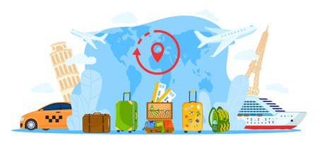 Restart travel agency flat concept vector illustration, cartoon tourist bag, open suitcase baggage for travelers, pinned world map
