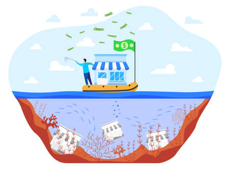 Save business during crisis flat vector illustration, cartoon businessman saving small business on boat, bankrupt concept isolated on white