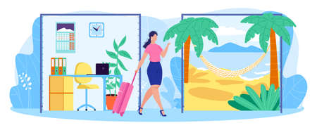 Work life businesswoman balance concept flat vector illustration, cartoon woman character with suitcase leaving office isolated on white