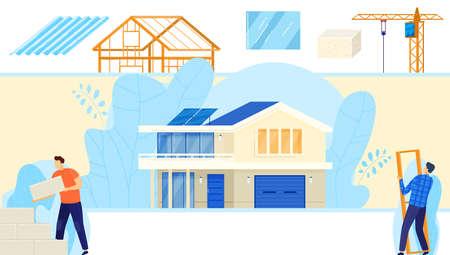 Building construction technology vector illustration, cartoon flat builder worker character team working in city house constructig process Illusztráció