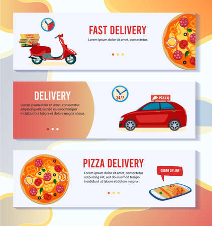Pizza delivery vector illustration, cartoon flat mobile app banner set with pizza online order in pizzeria, free delivering by scooter car