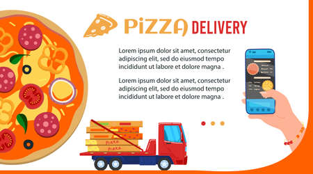 Pizza delivery vector illustration, cartoon flat mobile app banner with human hand holding smartphone for fast food order in pizzeria Illustration