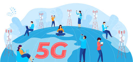 5G internet communication vector illustration, cartoon flat man woman user characters with mobile devices communicating, using 5G network