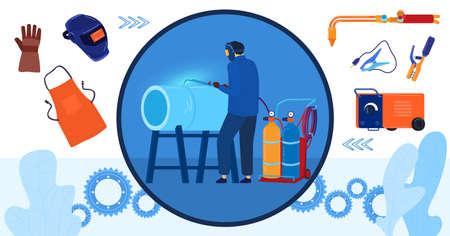 Metal work weld vector illustration, cartoon flat professional welder man character in protective mask and gloves welding metal pipe