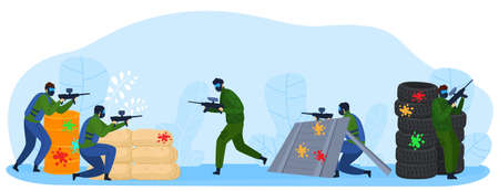 People play paintball game flat vector illustration, cartoon player fighter warrior characters shooting with marker guns isolated on white