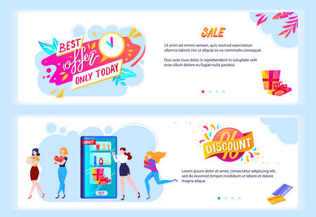 Summer sale concept vector illustrations, cartoon flat banners template with happy girls characters shopping, running to store shop boutique Illustration