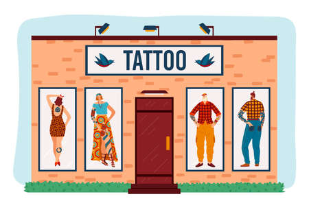 Art tattoo salon vector illustration, cartoon flat building with tattooed hipster man woman characters at window isolated on white