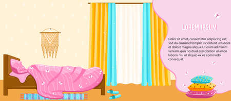 Home textile vector illustration, cartoon flat cute design for hotel or home apartment bedroom, cozy bed, sweet dreams design banner Ilustração