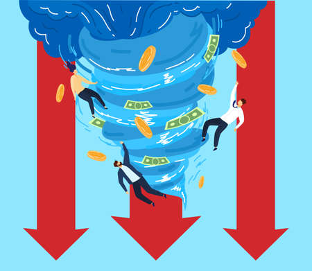 People in tornado money vector illustration, cartoon flat businessman character flying with paper money coin, destructive business whirlwind