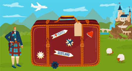 Travel to Scotland vector illustration, cartoon flat tiny scotsman character in traditional kilt standing with big tourist suitcase symbol Illustration