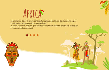 Ethnic tribe of Africa vector illustration, cartoon flat man woman tribal African villagers, ethnicity symbols of African art culture banner