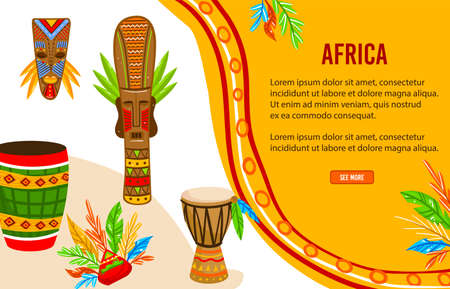Ethnic tribe of Africa vector illustration, cartoon flat tribal aboriginal art culture objects, ritual warrior mask, African drum banner