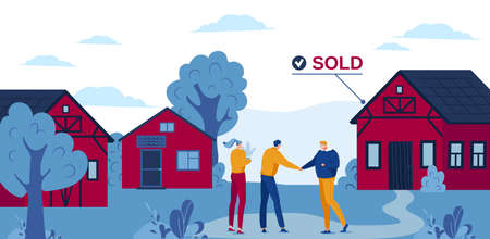 Suburban real estate vector illustration, cartoon flat realtor agent character handshaking with buyer people near house for sale background