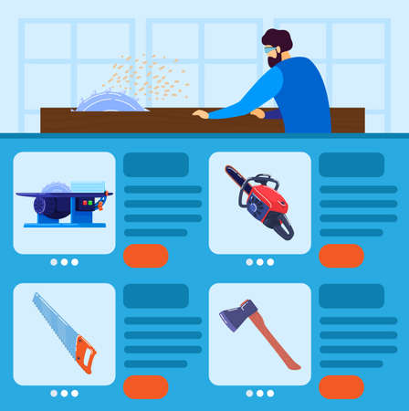 Worker tools vector illustration, cartoon flat carpenter woodworker man character working with cutting tools, electric saw, chainsaw Illustration
