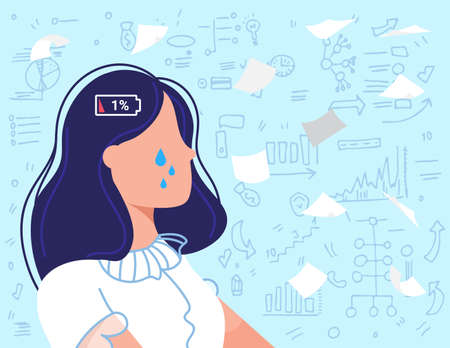 Burnout overwork business people flat vector illustration, cartoon sad employee, overworked businesswoman crying due to burnout work problem