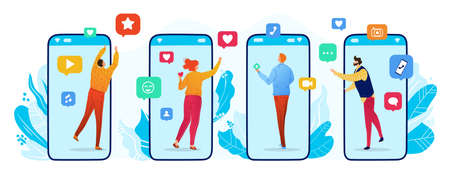 Social networking vector illustration, cartoon flat tiny man woman user characters from smartphone screen communicating with friends Illustration