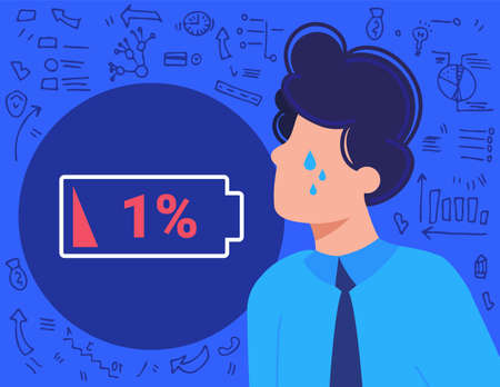 Burnout overwork business people flat vector illustration, cartoon frustrated employee businessman overworked in stress, low energy battery Illustration