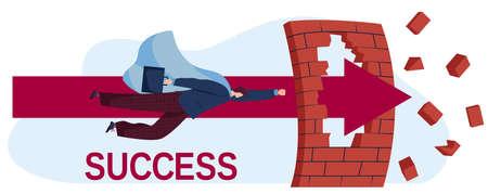 Business success flat vector illustration, cartoon businessman superhero flying on arrow to successful goal, profit and career growth