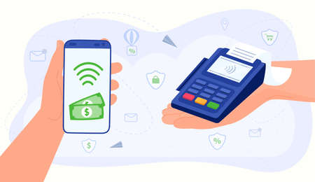 Contactless payment, money transfer vector illustration, cartoon flat human hands using smartphone mobile app, paying for shopping