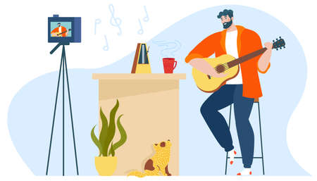 Music blog vector illustration, cartoon flat creative musical blogger man character playing guitar, guitarist creating, recording video Illustration