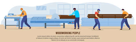 People woodworking vector illustration, cartoon flat woodworker characters working with circular saw equipment in workshop room interior Иллюстрация