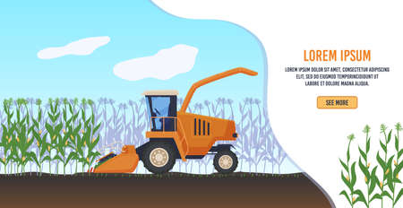 Farming agriculture vector illustration, cartoon flat agricultural agrarian tractor or farmers combine harvester working, agronomy banner Vettoriali
