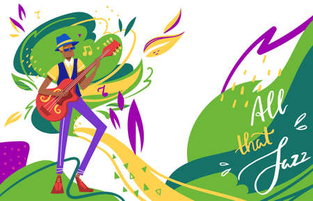 Jazz festival vector illustration, cartoon flat man musician solo guitarist character playing jazz soul music on guitar, club background