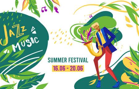 Jazz festival vector illustration, cartoon flat man musician talent sax player character playing jazz blues music on saxophone background