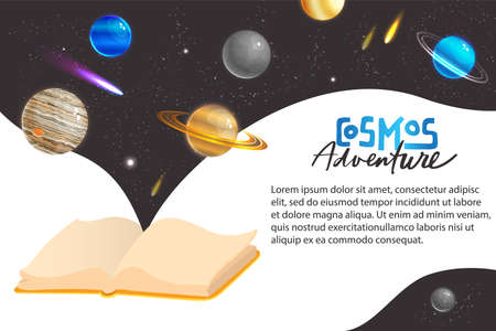 Space universe adventure concept vector illustration, cartoon flat fantasy galaxy outer space virtual world with planet comet meteor or star