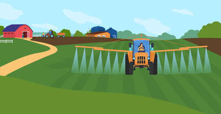 Farming agriculture vector illustration, cartoon flat agricultural agrarian sprinkler tractor watering organic farm green field background