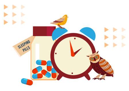 Sleeping pills vector illustration, cartoon flat insomnia medicines for treating sleep disorder, sleepless medical problem treatment concept