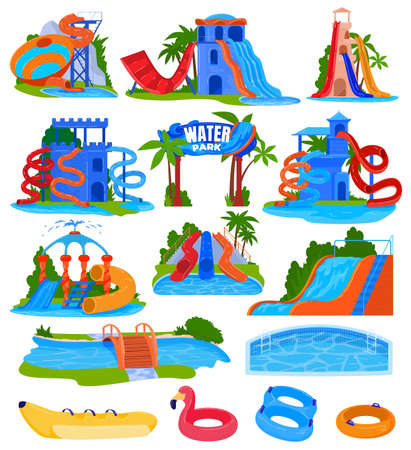 Water amusement park vector illustration set, cartoon flat spiral plastic water slides and pipes with pool in aquapark attractions