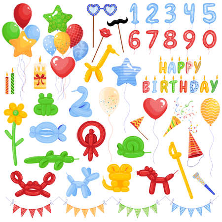 Balloon vector illustration set, cartoon flat different flying rubber air balloons collection with elements for birthday party