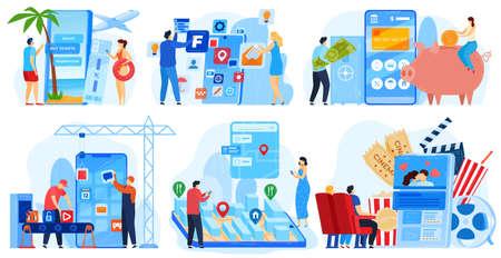 Business application development vector illustration set, cartoon flat developer people work, develop ui web design of mobile app