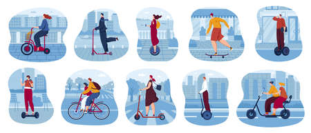 Eco city transport vector illustration set, cartoon flat cityscape scene collection with people driving scooter, skateboard Illustration