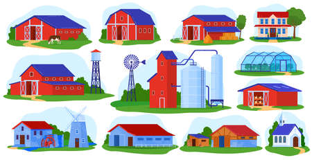 Farm building vector illustration set, cartoon flat front view of village farmhouses collection with red barn, industry tower Illustration