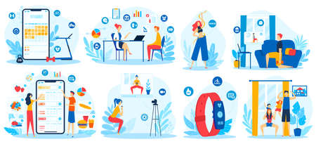 Online sport training vector illustration set, cartoon flat active people do exercise activity with coach trainer, loss bodyweight