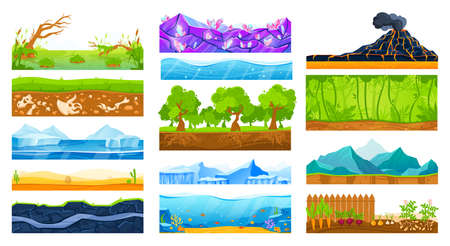 Ground surface landscape vector illustration set, cartoon flat soil land layers diagram collection, geology isolated on white Illustration